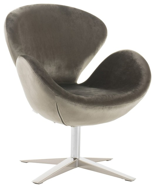 Manhatten New Velvet Modern Swivel Chair, Gray Contemporary  Armchairs And Accent
