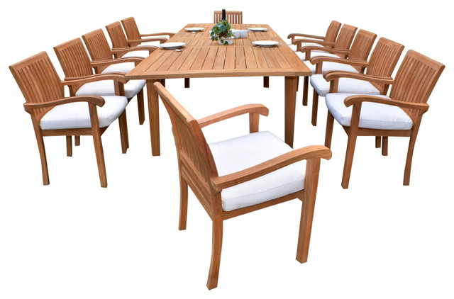 Teak furniture center outdoor 13 piece dining set with for 13 piece dining table set