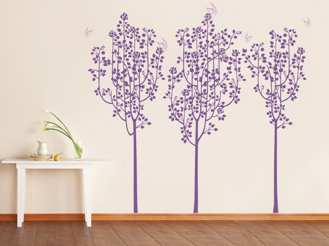 Flower Trees And Butterflies, Wall Decal, Violet Modern Wall Decals Part 37