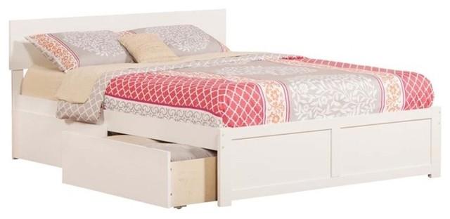 Atlantic Furniture Orlando Urban Queen Storage Platform Bed, White.
