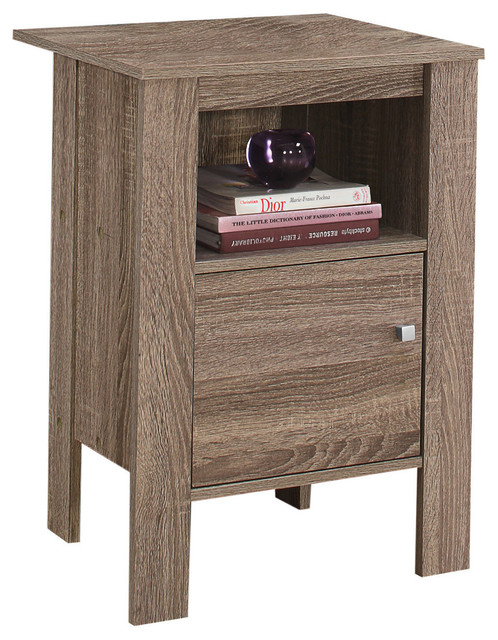 Accent Table Night Stand With Storage, Taupe.