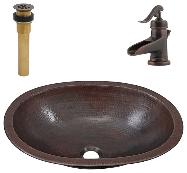 Wallace Undermount/Drop-In Copper Sink Kit With Pfister Bronze Faucet & Drain