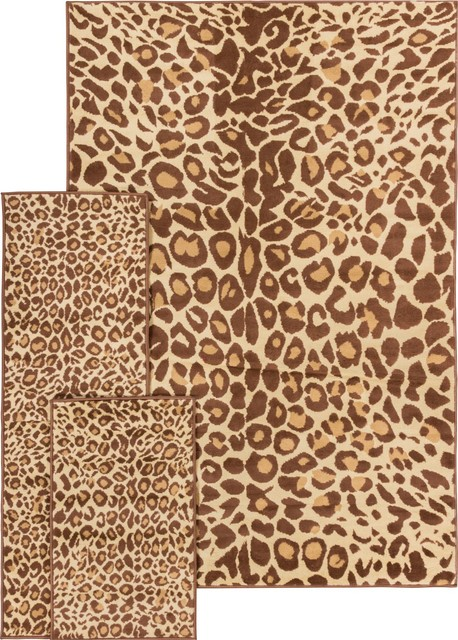well woven miami cocoa leopard animal print brown 5x7 5x7 rug set