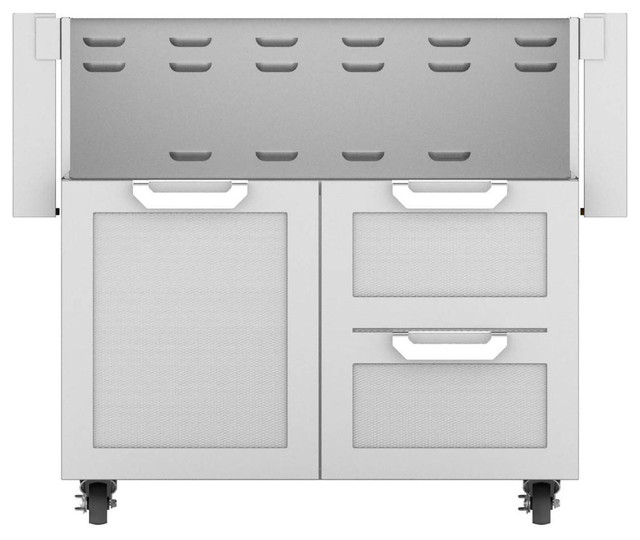"Double Drawer And Door Cart, Steeletto, 36""."