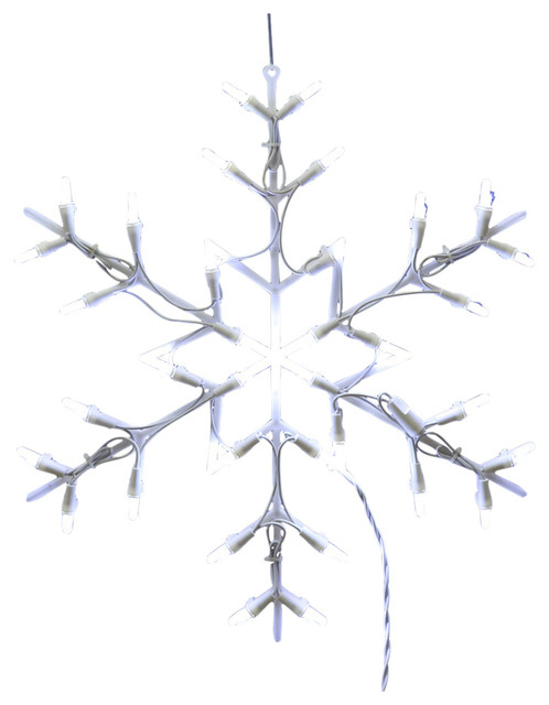 35 Light Led Snowflake Window Decor 16, 16, White.