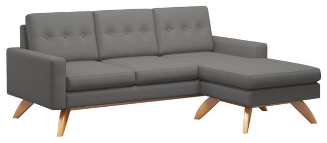 "Luna 84""x63"" Loft Sofa, Fabric Color: Dolphin, Walnut Leg Finish."