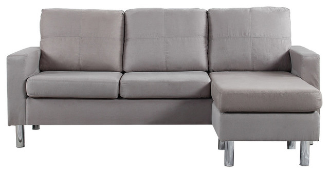 Modern Reversible Small Microfiber Sectional - Contemporary ...