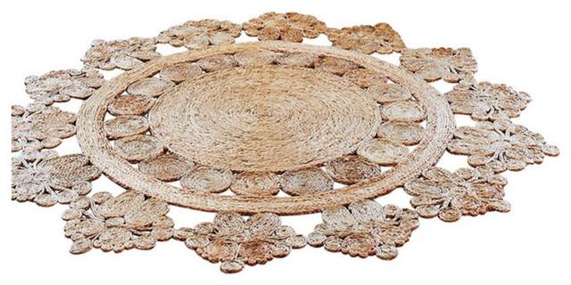 Handwoven Doily Crochet Hemp Rug, Fairtrade, 5u0027 Diameter Rustic Area Rugs