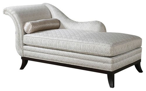 Kimbra Collection Beige Modern Classic Patterned Fabric Chaise Lounge