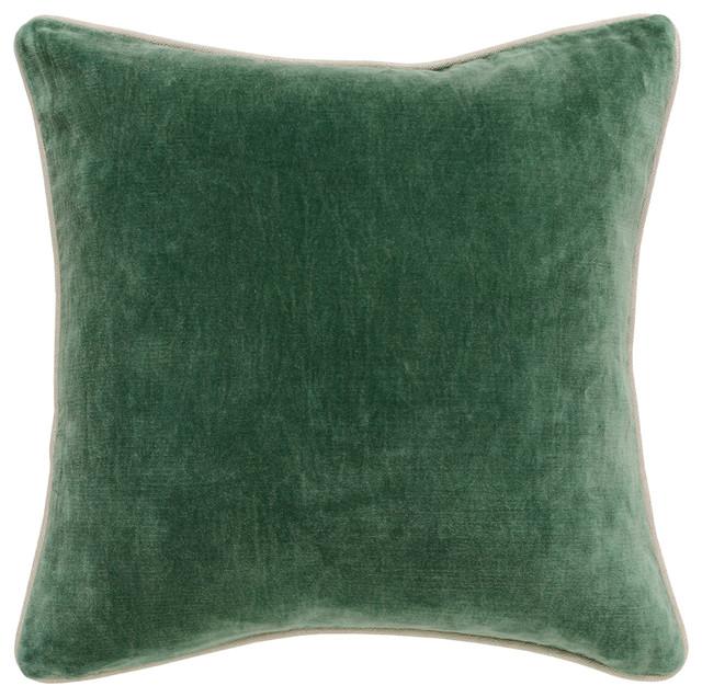 "Harriet Velvet Throw Pillow by Kosas Home, Hunter Green, 18""x18"""