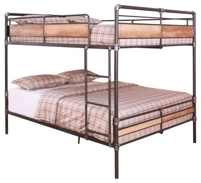 Queen-Over-Queen Metal Bunk Bed, Sandy Black.