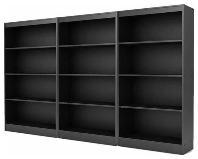 South Shore Furniture Axess Collection 4-Shelf Bookcase Black