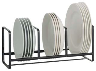 Tower Dish Storage Rack Wide Small Black - Contemporary - Dinnerware And Stemware Storage - by Yamazaki Home  sc 1 st  Houzz & Tower Dish Storage Rack Wide Small Black - Contemporary ...