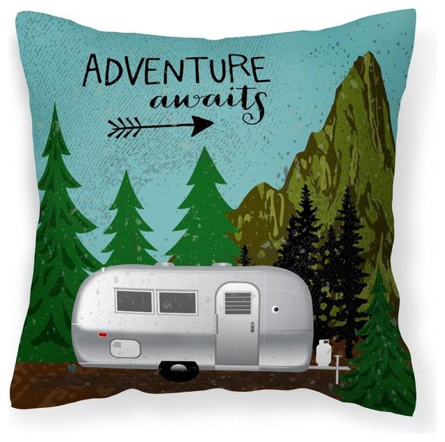 Airstream Camper Adventure Awaits Fabric Decorative Pillow