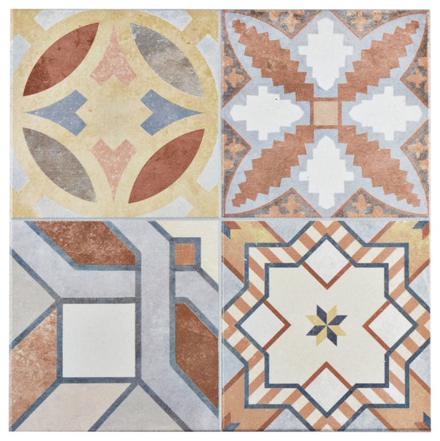 "Somertile 13""x13"" Hidraulic Ceramic Floor And Wall Tiles, Set Of 11."