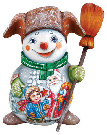Snowman With Kids Santa, Woodcarved Figurine.