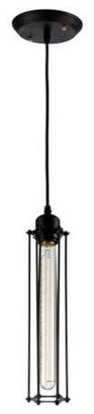 Edison Caged Pendant Light, Matte Black/iron.