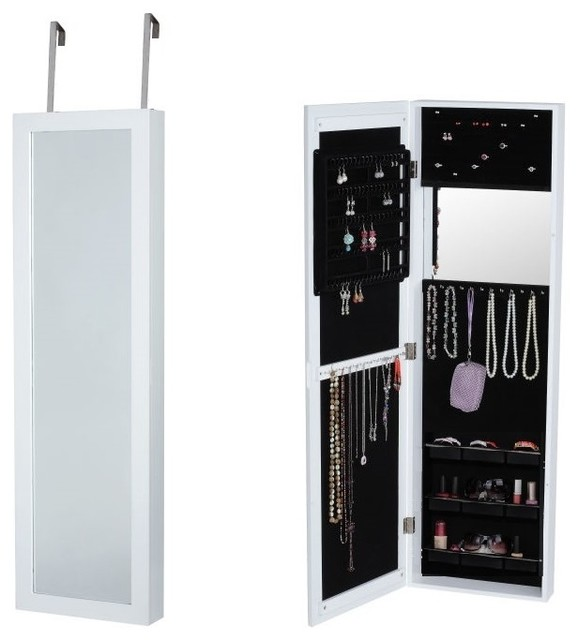 Wall-Mount Over The Door Jewelry Armoire, White - Contemporary - Jewelry Armoires - by Btexpert