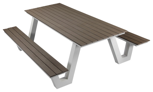 Remarkable Lukas Outdoor Picnic Table White Frame With Gray Top Customarchery Wood Chair Design Ideas Customarcherynet