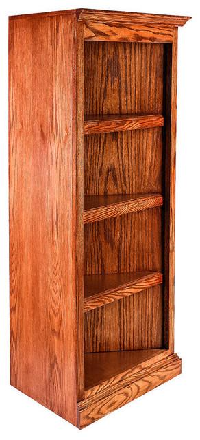 Traditional Oak Corner Bookcase Golden Oak