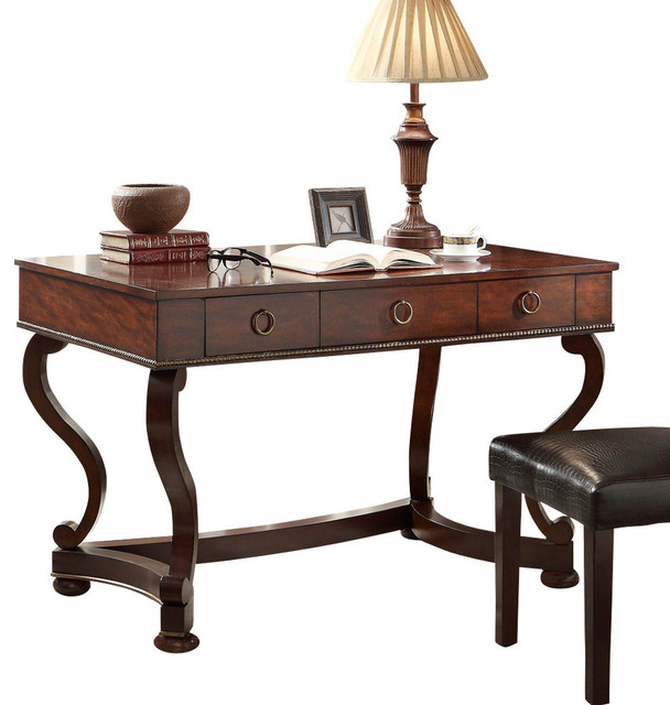 Homelegance Maule Writing Desk With 3 Drawers In Cherry