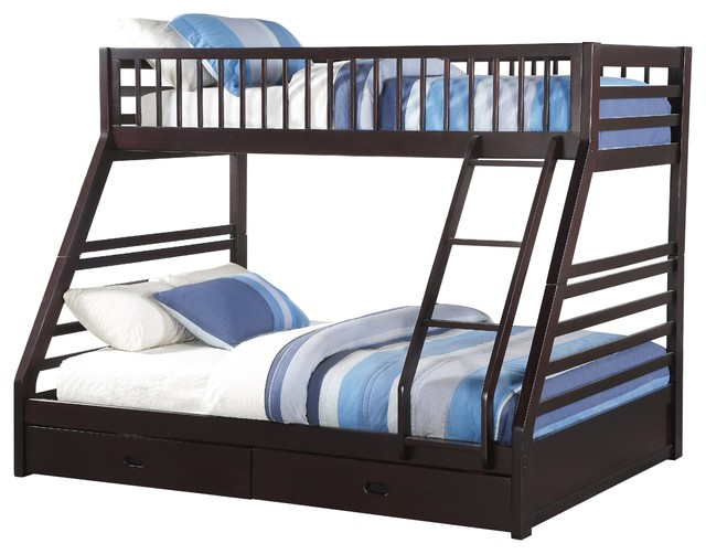 Jason Twin Over Queen Bunk Bed With Drawers Espresso