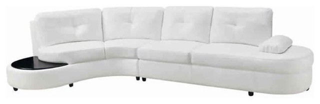 Bowery Hill Bonded Leather Left Facing Sectional, White.