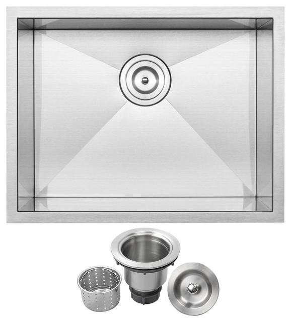 """22.5"""" Zero Radius Undermount 16-Gauge Stainless Steel Single Basin Kitchen Sink"""