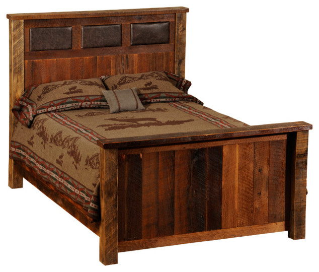 Wood And Leather Headboard: Fireside Lodge Reclaimed Wood And Leather Bed, California