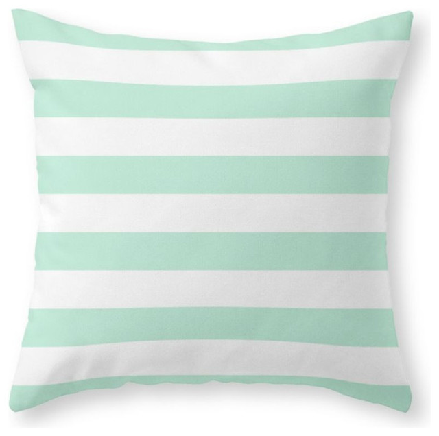 Shop Houzz Society6 Stripe Horizontal Mint Green Throw Pillow - Decorative Pillows