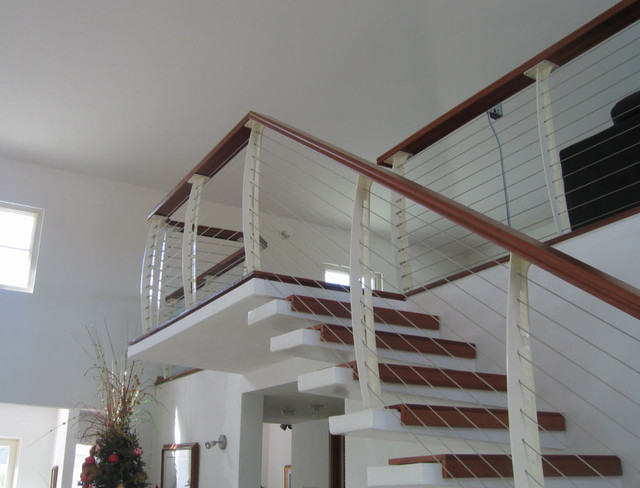 White Interior Cable Railing On Cantilever Stairs Contemporary Staircase