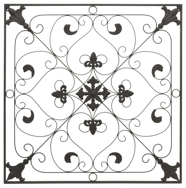 Square Metal Wall Art shop houzz | three hands three hands ornate square metal wall art