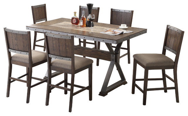 Dark Oak With Marble Center Top 7 Piece Counter Height Dining Set