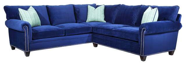 Moritz Traditional L Shaped Sectional In Navy Blue Velvet