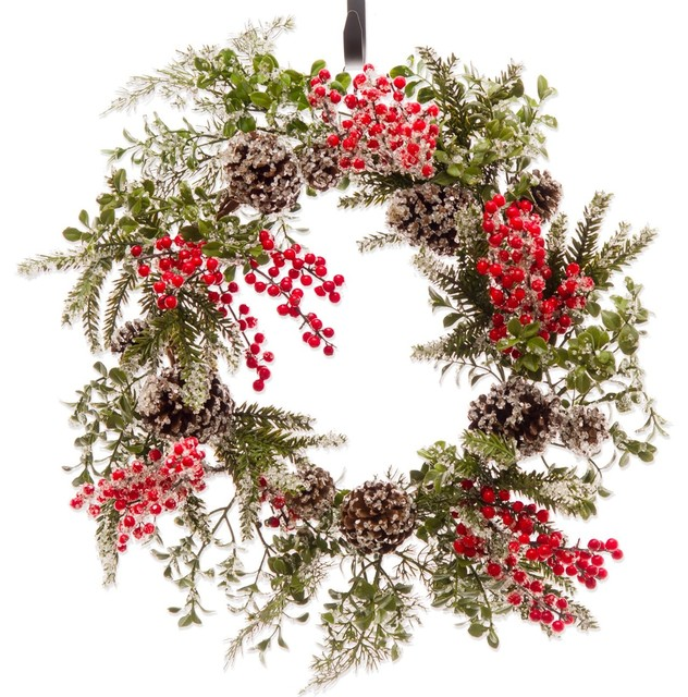 Pine And Red Berry Iced Winter Christmas Wreath 2 (cw192).