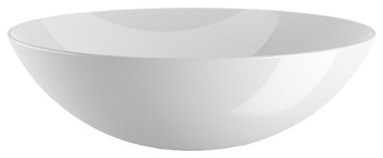 "Lb Round Ceramic Vessel Sink Bowl, White Gloss, 17""."