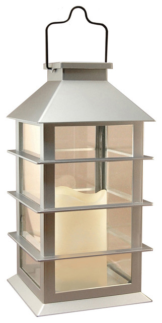 lantern silver with led candle lamps
