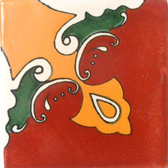 "4""x4"" Mexican Ceramic Handmade Tile #C006"