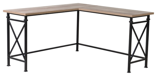 Homestar Banquo Corner Desk, Reclaimed Wood  And Metal Legs.