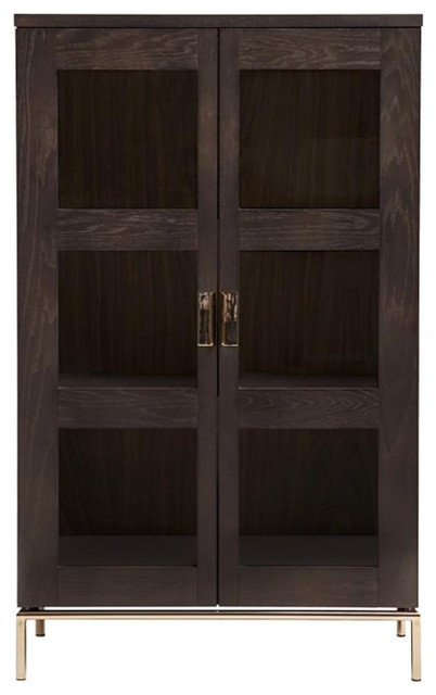 Pimlico Armoire With Glass Doors, Dark Brown