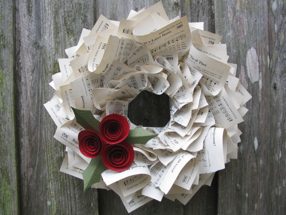 Christmas Holly Hymnal Wreath by The Ruffled Page