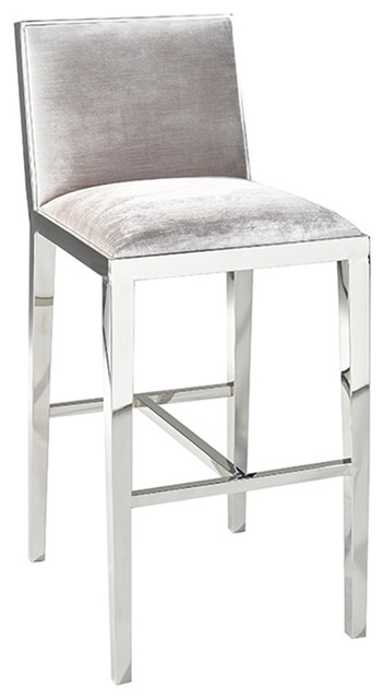 Uptown Club Mia Velvet Bar Stool Gray Amp Reviews Houzz
