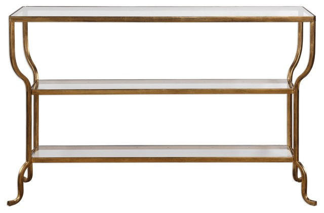 Curved Gold Minimalist Console Table W Shelves Sofa Entry