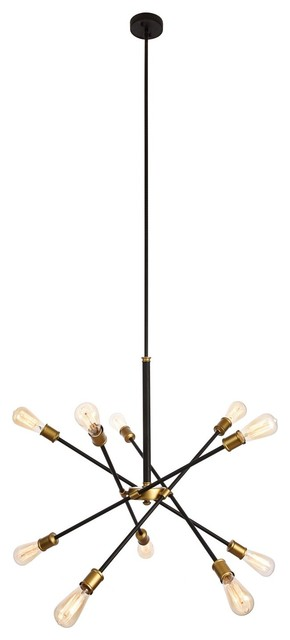 Elegant Living District Axel Collection Chandelier, Black/Brass