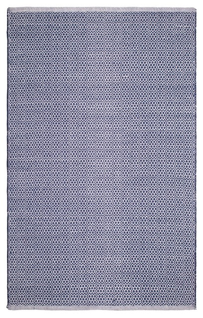 100% Recycled Cotton Handwoven Floor Mat/rug, Bodhi Blue, 6&x27;x9&x27;.