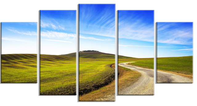 """""""Rural Road And Olive Trees Uphill"""" Metal Wall Art"""