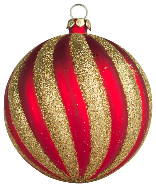 70mm 2 75 Red And Gold Swirl Ball Ornament Contemporary Christmas Ornaments By Queens Of Christmas