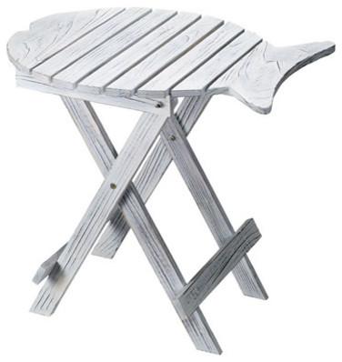 fish folding table w white wash finish