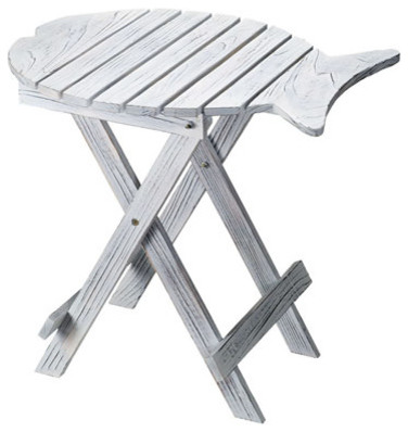 Charming Fish Folding Table With White Wash Finish