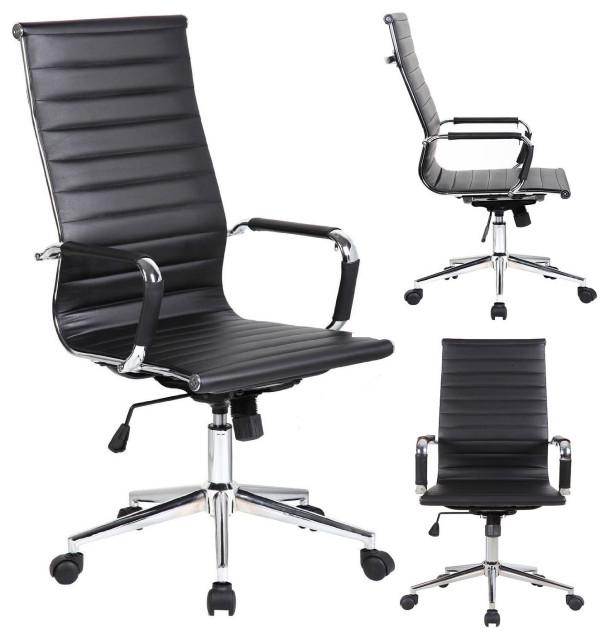 more photos a7e30 98843 Designer Executive Ergonomic High Back Office Chair Ribbed PU Leather, Black